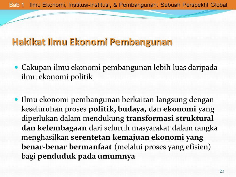 Hakikat Ilmu Ekonomi Pembangunan Cakupan ilmu ekonomi pembangunan lebih luas daripada ilmu ekonomi politik Ilmu ekonomi pembangunan berkaitan langsung