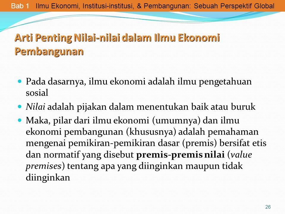 Arti Penting Nilai-nilai dalam Ilmu Ekonomi Pembangunan Pada dasarnya, ilmu ekonomi adalah ilmu pengetahuan sosial Nilai adalah pijakan dalam menentuk