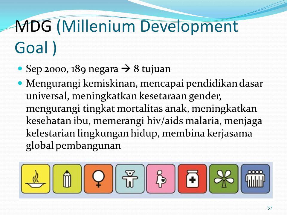 MDG (Millenium Development Goal ) Sep 2000, 189 negara  8 tujuan Mengurangi kemiskinan, mencapai pendidikan dasar universal, meningkatkan kesetaraan