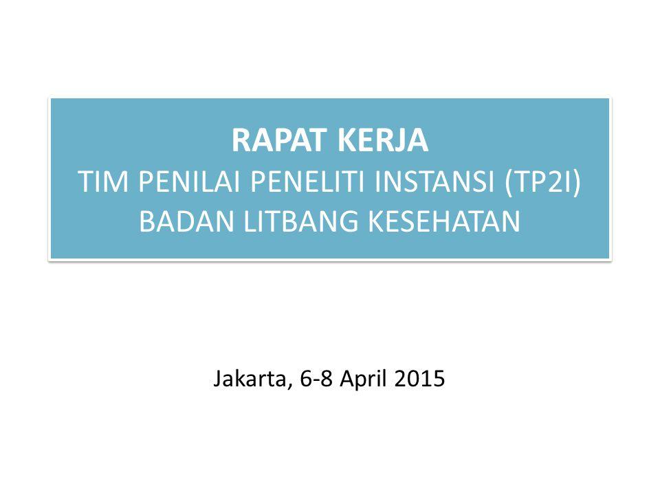 RAPAT KERJA TIM PENILAI PENELITI INSTANSI (TP2I) BADAN LITBANG KESEHATAN Jakarta, 6-8 April 2015
