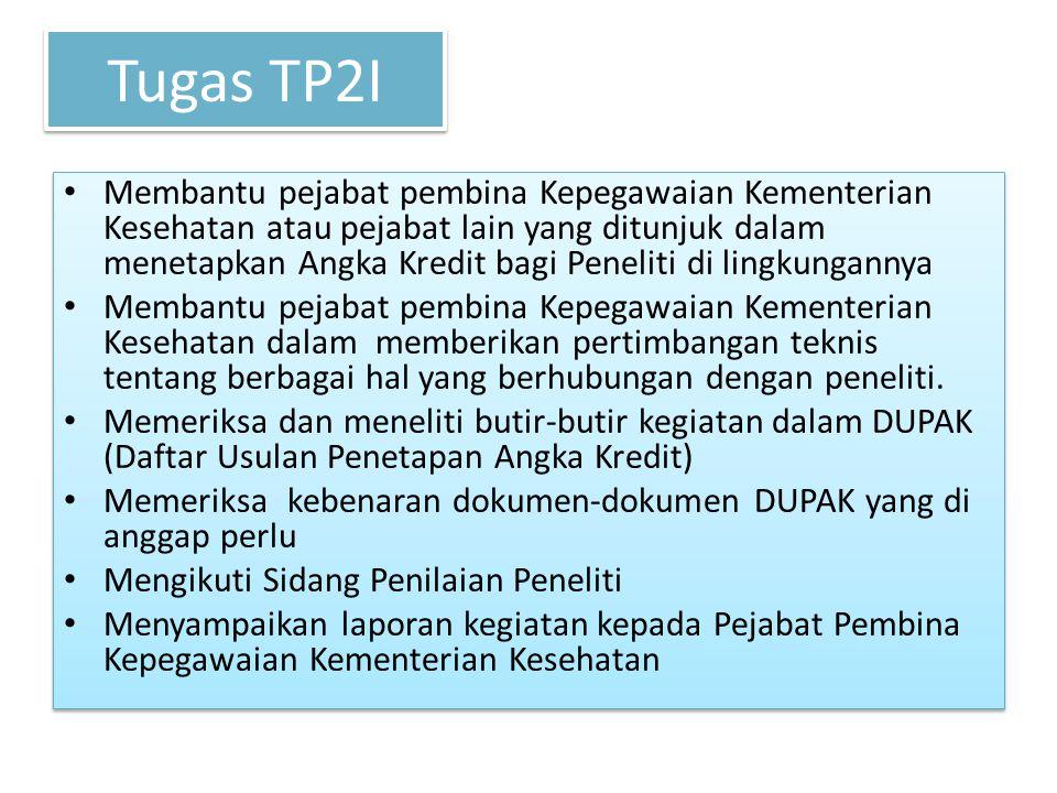 Tugas TP2I Membantu pejabat pembina Kepegawaian Kementerian Kesehatan atau pejabat lain yang ditunjuk dalam menetapkan Angka Kredit bagi Peneliti di l