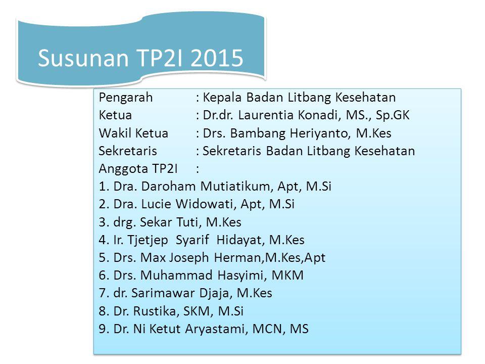 Pengarah: Kepala Badan Litbang Kesehatan Ketua : Dr.dr. Laurentia Konadi, MS., Sp.GK Wakil Ketua: Drs. Bambang Heriyanto, M.Kes Sekretaris: Sekretaris