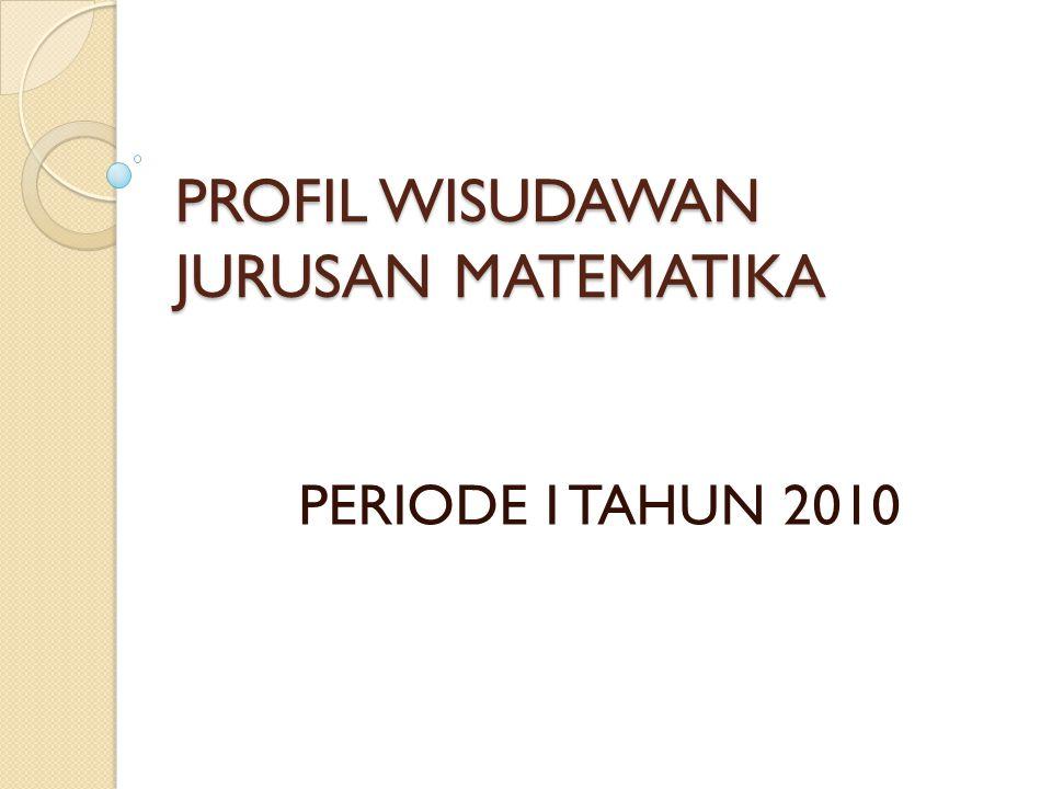 PROFIL WISUDAWAN JURUSAN MATEMATIKA PERIODE I TAHUN 2010