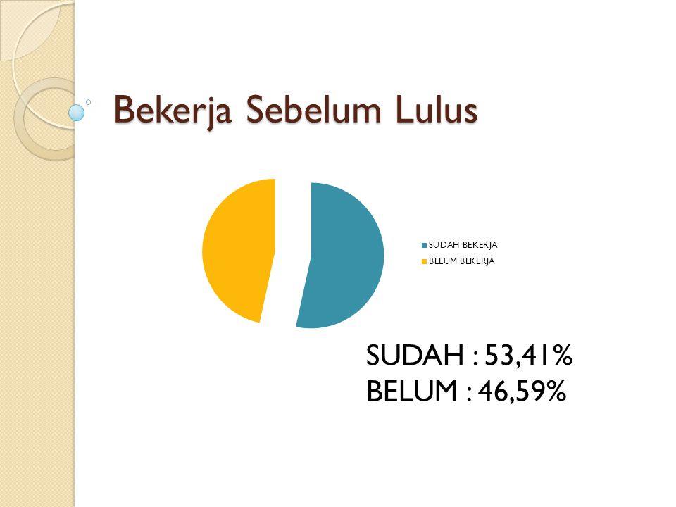 Bekerja Sebelum Lulus SUDAH : 53,41% BELUM : 46,59%