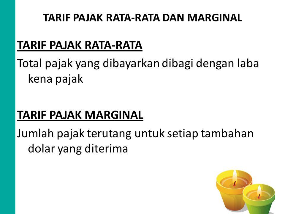 TARIF PAJAK RATA-RATA DAN MARGINAL TARIF PAJAK RATA-RATA Total pajak yang dibayarkan dibagi dengan laba kena pajak TARIF PAJAK MARGINAL Jumlah pajak t