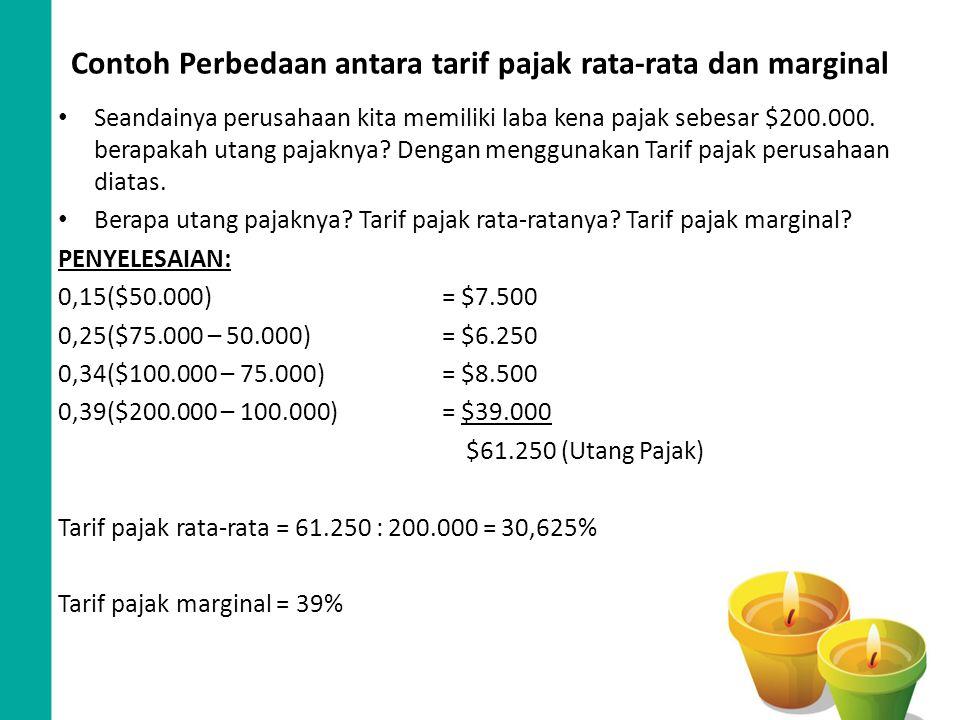 Contoh Perbedaan antara tarif pajak rata-rata dan marginal Seandainya perusahaan kita memiliki laba kena pajak sebesar $200.000. berapakah utang pajak