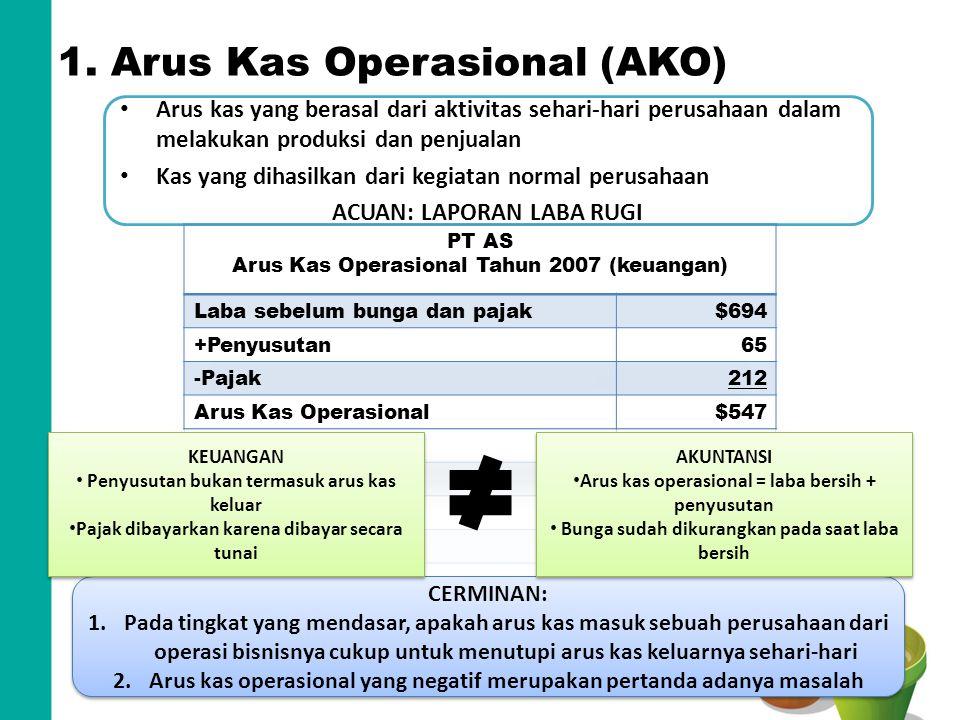 1. Arus Kas Operasional (AKO) Arus kas yang berasal dari aktivitas sehari-hari perusahaan dalam melakukan produksi dan penjualan Kas yang dihasilkan d