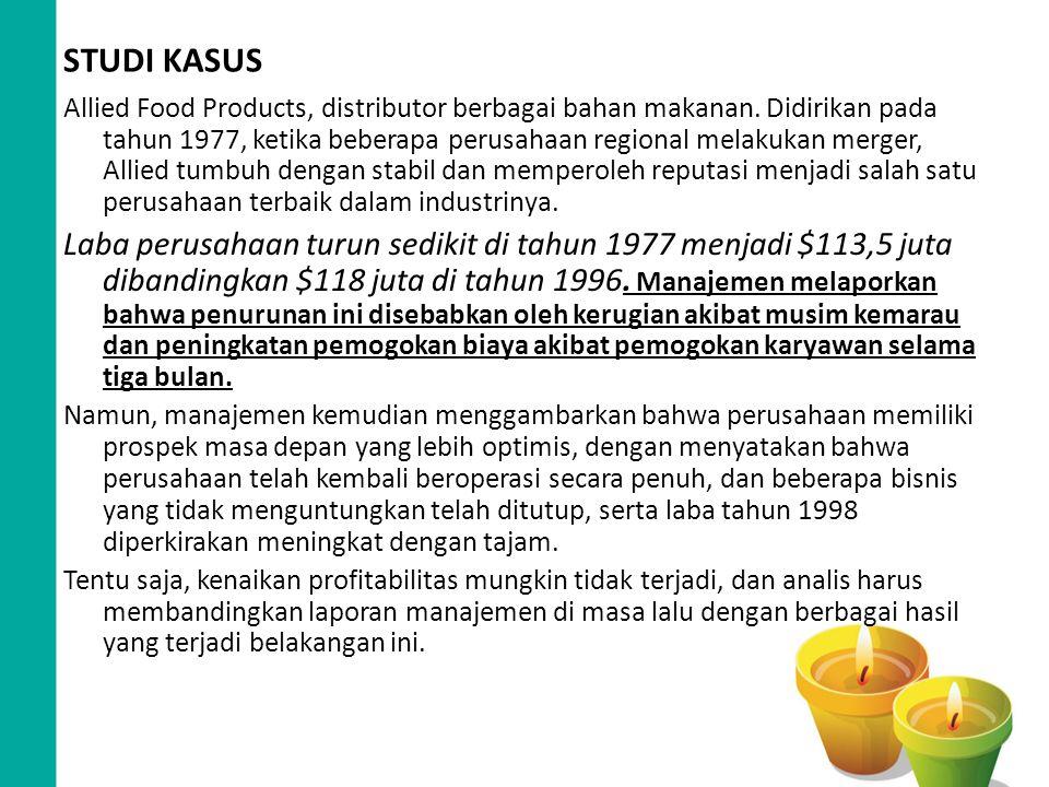 STUDI KASUS Allied Food Products, distributor berbagai bahan makanan. Didirikan pada tahun 1977, ketika beberapa perusahaan regional melakukan merger,