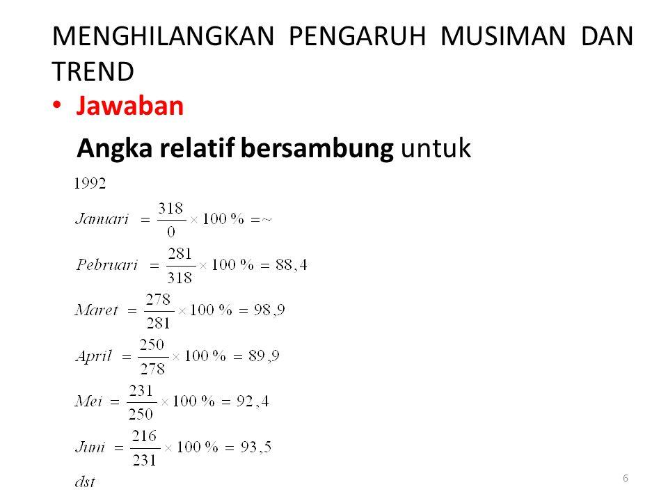 MENGHILANGKAN PENGARUH MUSIMAN DAN TREND Jawaban Angka relatif bersambung untuk 6