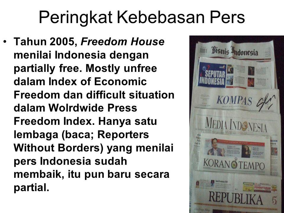 Peringkat Kebebasan Pers Tahun 2005, Freedom House menilai Indonesia dengan partially free. Mostly unfree dalam Index of Economic Freedom dan difficul