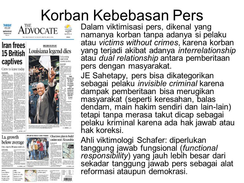 Korban Kebebasan Pers Dalam viktimisasi pers, dikenal yang namanya korban tanpa adanya si pelaku atau victims without crimes, karena korban yang terja