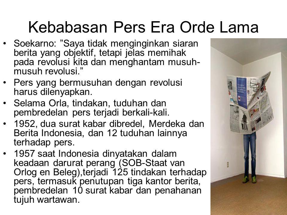 """Kebabasan Pers Era Orde Lama Soekarno: """"Saya tidak menginginkan siaran berita yang objektif, tetapi jelas memihak pada revolusi kita dan menghantam mu"""