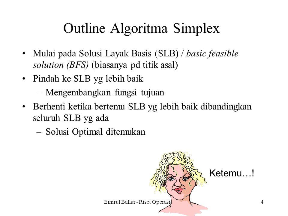 Emirul Bahar - Riset Operasional 14 Outline Algoritma Simplex Mulai pada Solusi Layak Basis (SLB) / basic feasible solution (BFS) (biasanya pd titik asal) Pindah ke SLB yg lebih baik –Mengembangkan fungsi tujuan Berhenti ketika bertemu SLB yg lebih baik dibandingkan seluruh SLB yg ada –Solusi Optimal ditemukan Ketemu…!