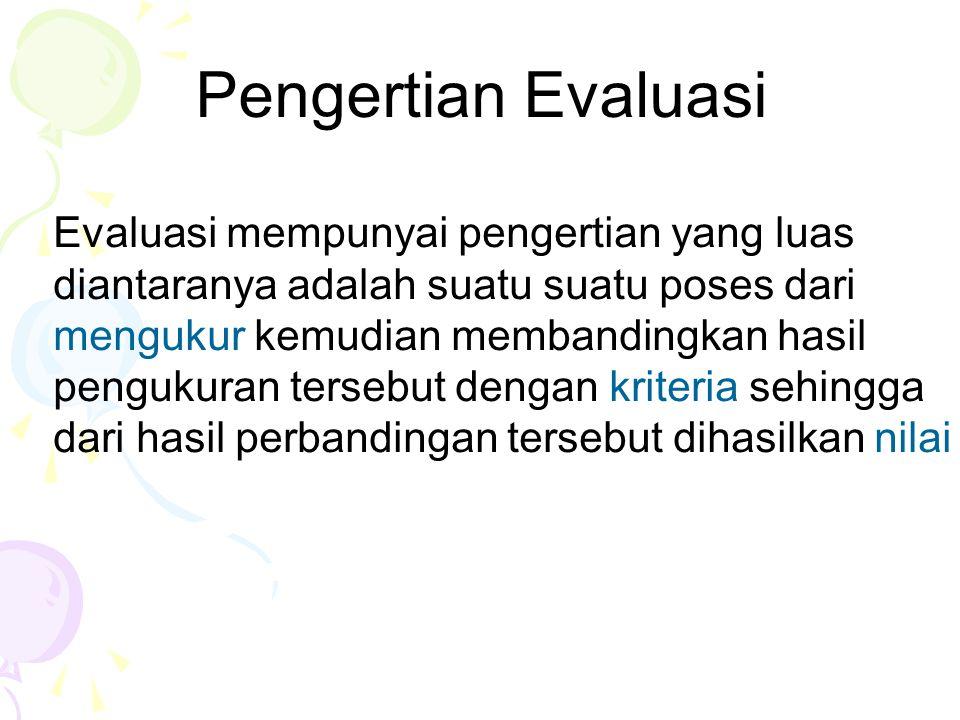 Dengan demikian komponen dari sebuah evaluasi adalah a.