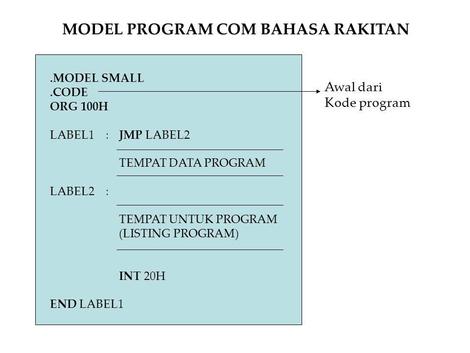 .MODEL SMALL.CODE ORG 100H LABEL1 :JMP LABEL2 TEMPAT DATA PROGRAM LABEL2: TEMPAT UNTUK PROGRAM (LISTING PROGRAM) INT 20H END LABEL1 MODEL PROGRAM COM