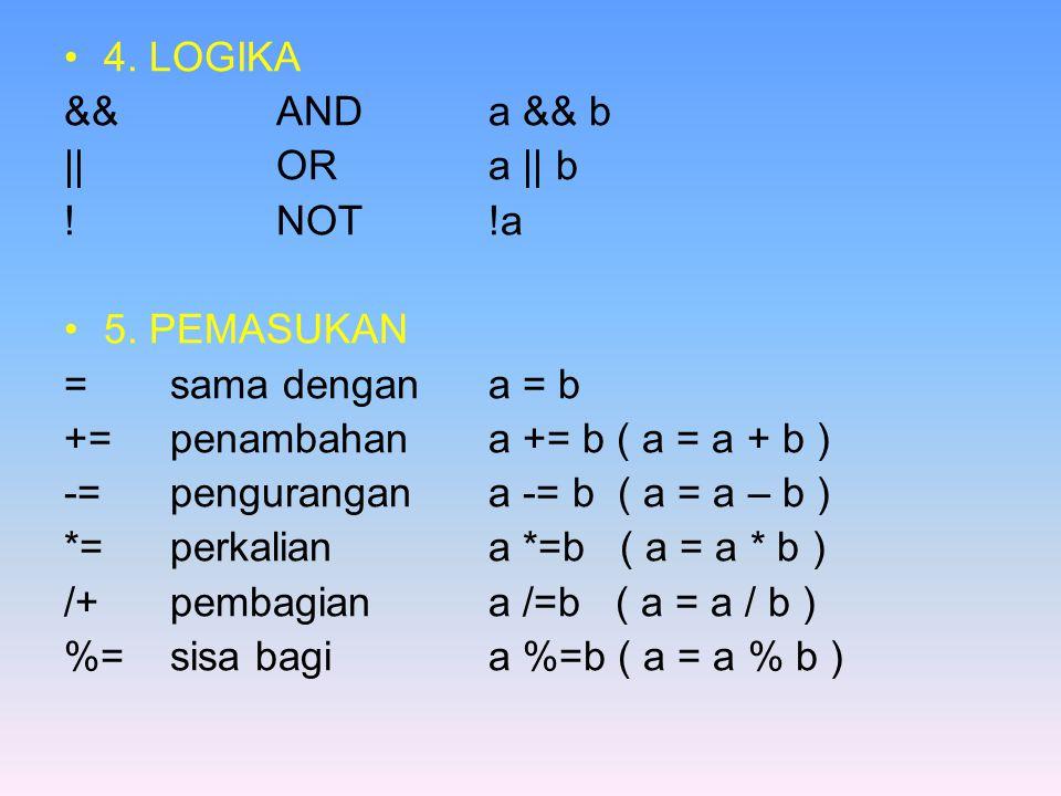4. LOGIKA &&ANDa && b ||ORa || b !NOT!a 5.