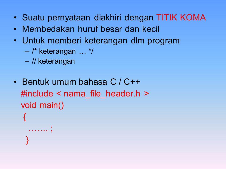 Suatu pernyataan diakhiri dengan TITIK KOMA Membedakan huruf besar dan kecil Untuk memberi keterangan dlm program –/* keterangan … */ –// keterangan Bentuk umum bahasa C / C++ #include void main() { …….
