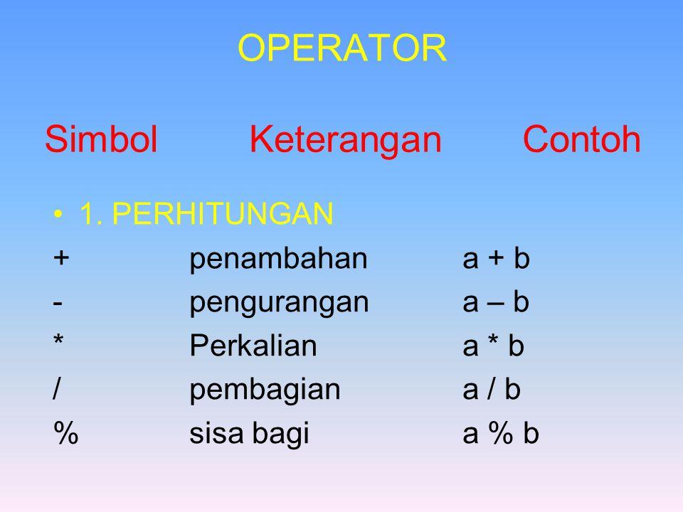 OPERATOR Simbol KeteranganContoh 1.