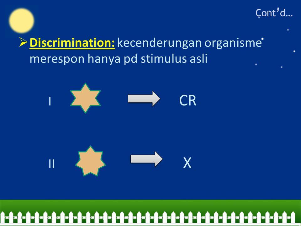  Discrimination: kecenderungan organisme merespon hanya pd stimulus asli I CR II X Cont'd…