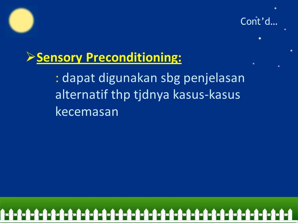 Cont'd…  Sensory Preconditioning: : dapat digunakan sbg penjelasan alternatif thp tjdnya kasus-kasus kecemasan