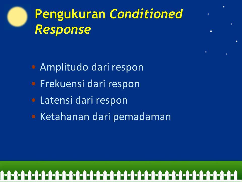 Amplitudo dari respon Frekuensi dari respon Latensi dari respon Ketahanan dari pemadaman Pengukuran Conditioned Response