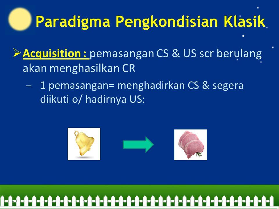  Acquisition : pemasangan CS & US scr berulang akan menghasilkan CR – 1 pemasangan= menghadirkan CS & segera diikuti o/ hadirnya US: Paradigma Pengkondisian Klasik