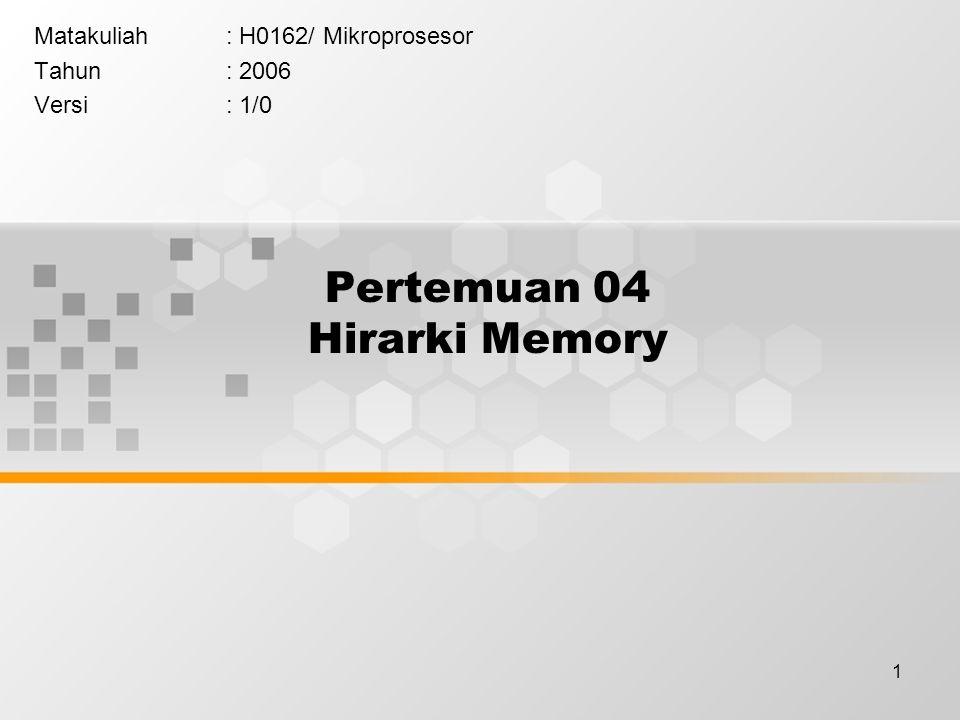 1 Pertemuan 04 Hirarki Memory Matakuliah: H0162/ Mikroprosesor Tahun: 2006 Versi: 1/0