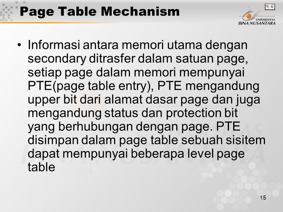 15 Page Table Mechanism Informasi antara memori utama dengan secondary ditrasfer dalam satuan page, setiap page dalam memori mempunyai PTE(page table