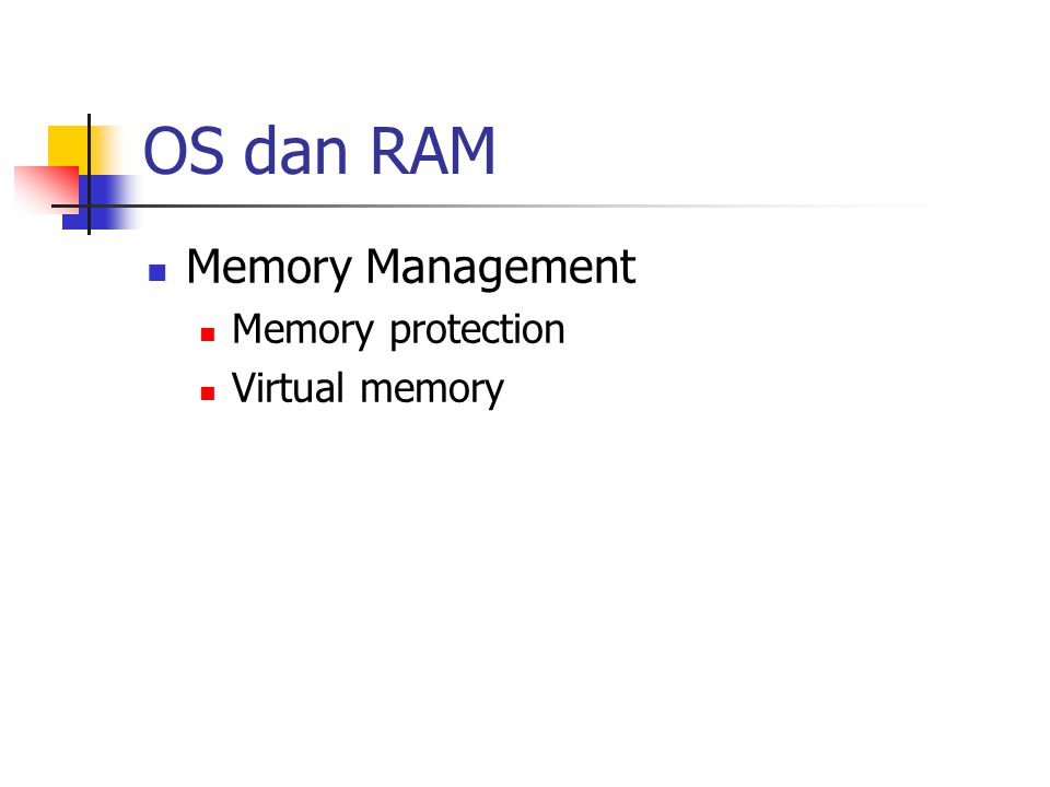 OS dan RAM Memory Management Memory protection Virtual memory