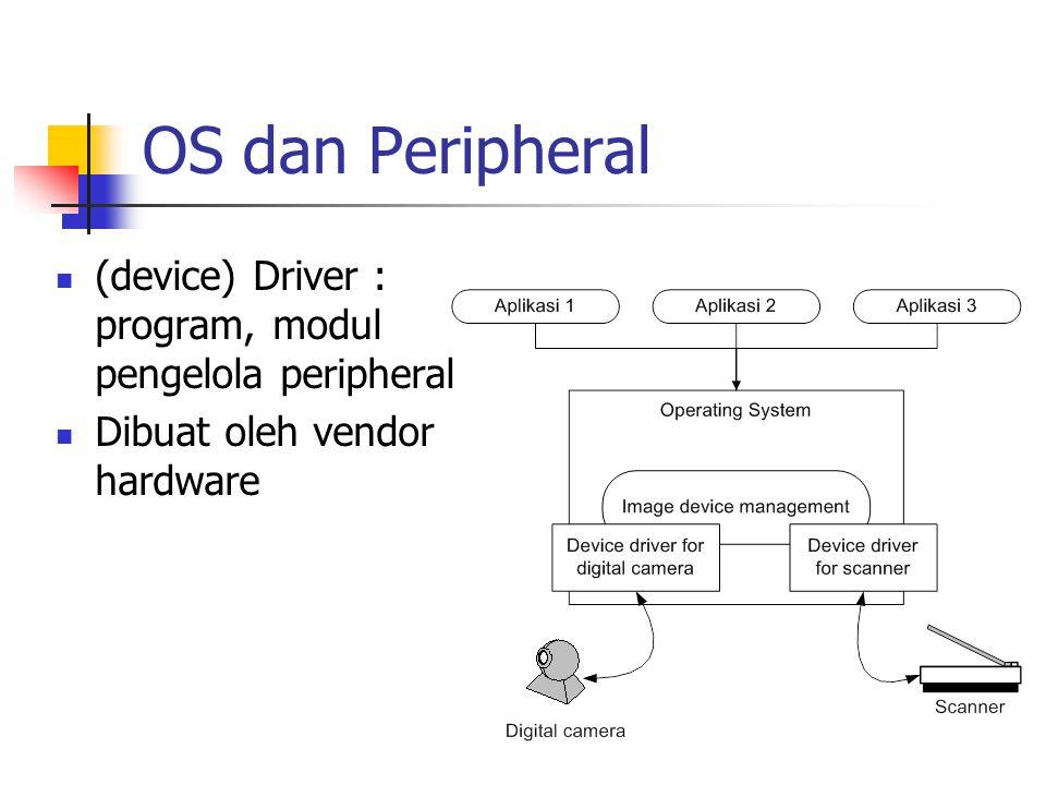 OS dan Peripheral (device) Driver : program, modul pengelola peripheral Dibuat oleh vendor hardware