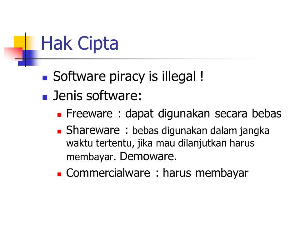 Hak Cipta Software piracy is illegal ! Jenis software: Freeware : dapat digunakan secara bebas Shareware : bebas digunakan dalam jangka waktu tertentu