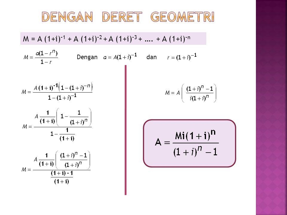M = A (1+i) –1 + A (1+i) –2 + A (1+i) –3 + …. + A (1+i) –n Dengandan