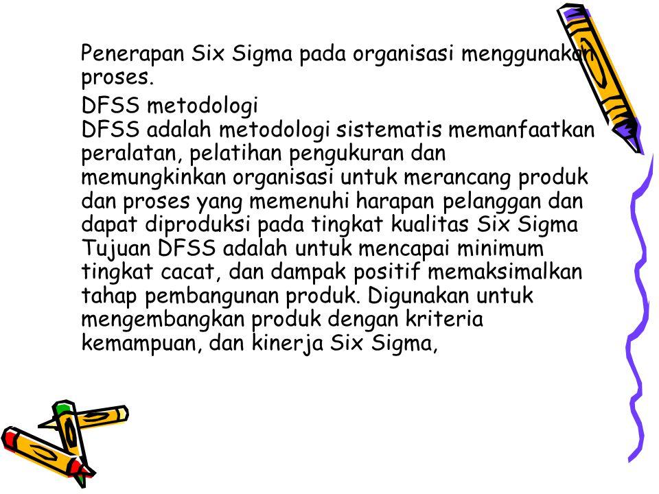 Penerapan Six Sigma pada organisasi menggunakan proses.