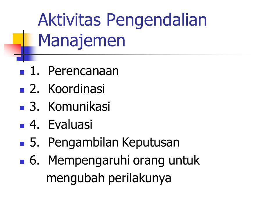 Aktivitas Pengendalian Manajemen 1. Perencanaan 2. Koordinasi 3. Komunikasi 4. Evaluasi 5. Pengambilan Keputusan 6. Mempengaruhi orang untuk mengubah