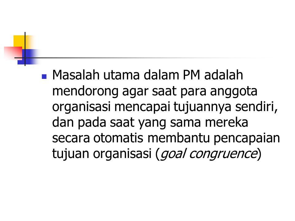 Masalah utama dalam PM adalah mendorong agar saat para anggota organisasi mencapai tujuannya sendiri, dan pada saat yang sama mereka secara otomatis m