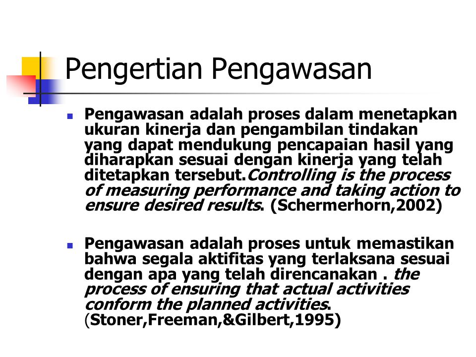 Konsep Pengendalian Manajemen Pengendalian: adalah proses untuk menjamin agar kegiatan mengarah ke tujuan yang diinginkan Unsur Pengendalian: 1.