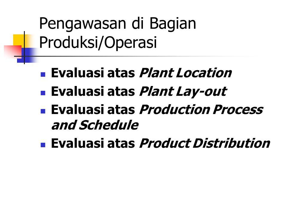 Pengawasan di Bagian Produksi/Operasi Evaluasi atas Plant Location Evaluasi atas Plant Lay-out Evaluasi atas Production Process and Schedule Evaluasi