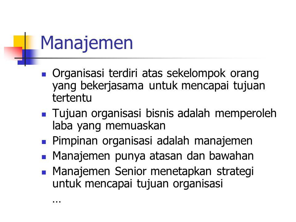 Manajemen Organisasi terdiri atas sekelompok orang yang bekerjasama untuk mencapai tujuan tertentu Tujuan organisasi bisnis adalah memperoleh laba yan