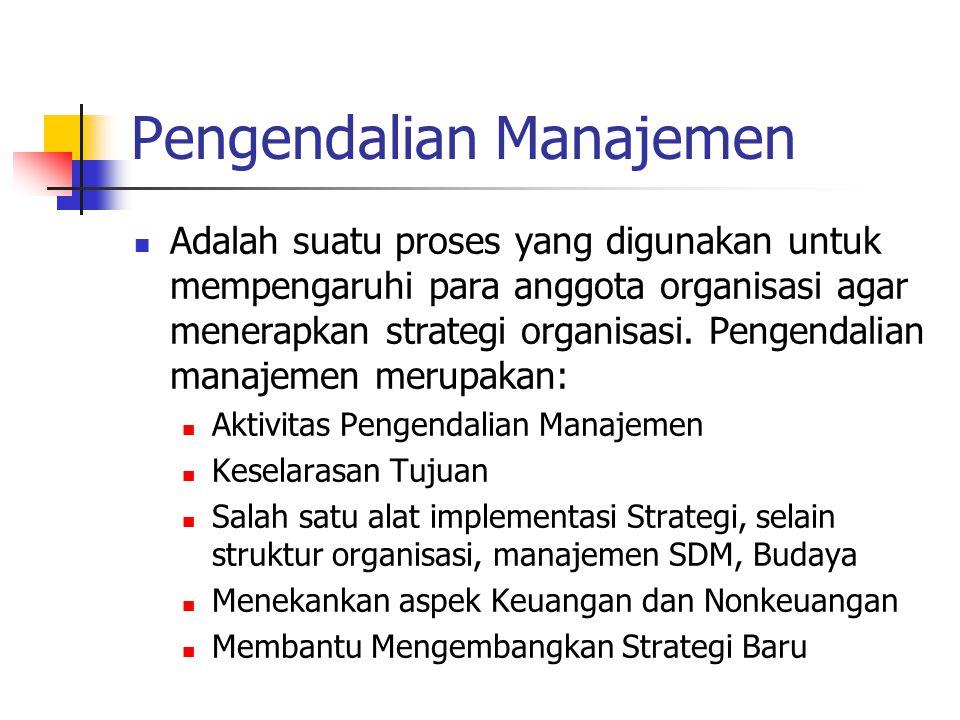 Batas Pengendalian Manajemen Tiga aktivitas yang memerlukan perencanaan dan pengendalian: Strategy Formulation Management Control Task Control