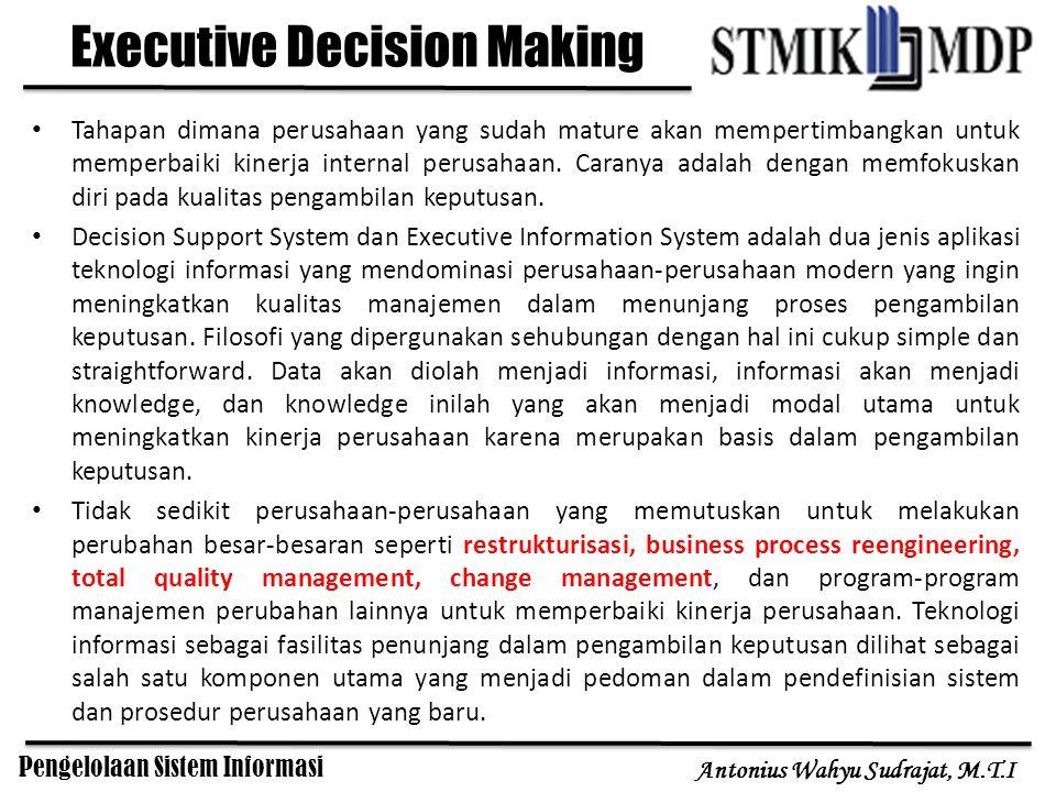 Pengelolaan Sistem Informasi Antonius Wahyu Sudrajat, M.T.I Executive Decision Making Tahapan dimana perusahaan yang sudah mature akan mempertimbangka