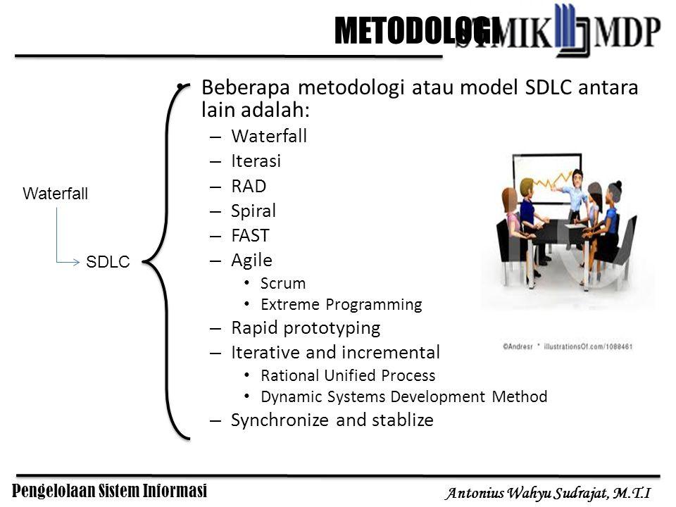 Pengelolaan Sistem Informasi Antonius Wahyu Sudrajat, M.T.I METODOLOGI Beberapa metodologi atau model SDLC antara lain adalah: – Waterfall – Iterasi –
