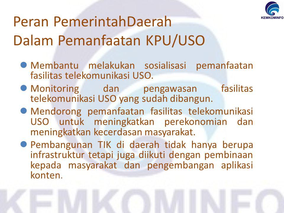 Peran PemerintahDaerah Dalam Pemanfaatan KPU/USO Membantu melakukan sosialisasi pemanfaatan fasilitas telekomunikasi USO. Monitoring dan pengawasan fa