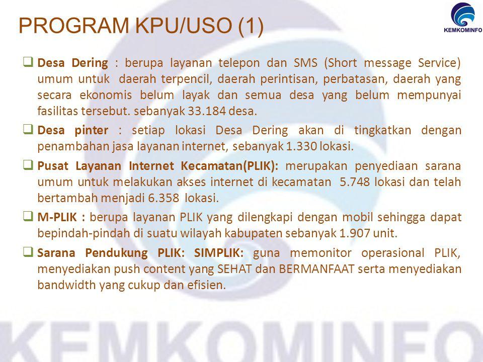  Desa Dering : berupa layanan telepon dan SMS (Short message Service) umum untuk daerah terpencil, daerah perintisan, perbatasan, daerah yang secara