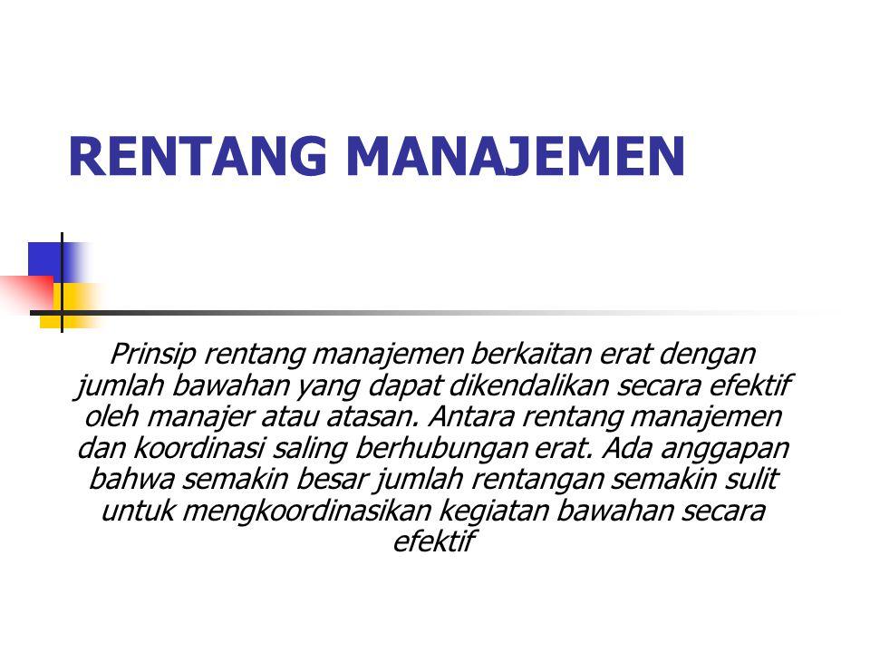 RENTANG MANAJEMEN Prinsip rentang manajemen berkaitan erat dengan jumlah bawahan yang dapat dikendalikan secara efektif oleh manajer atau atasan.