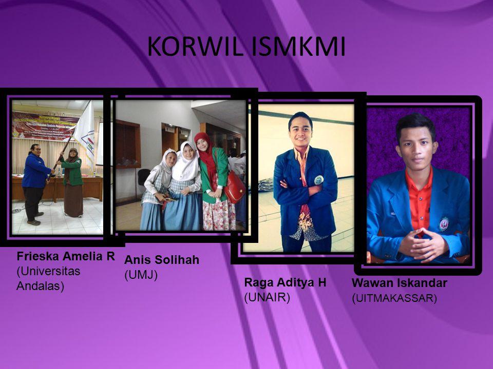 KORWIL ISMKMI Frieska Amelia R (Universitas Andalas) Anis Solihah (UMJ) Raga Aditya H (UNAIR) Wawan Iskandar ( UITMAKASSAR)