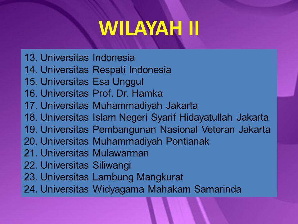 WILAYAH II 13. Universitas Indonesia 14. Universitas Respati Indonesia 15. Universitas Esa Unggul 16. Universitas Prof. Dr. Hamka 17. Universitas Muha