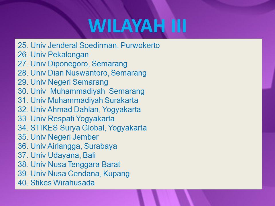 WILAYAH III 25. Univ Jenderal Soedirman, Purwokerto 26. Univ Pekalongan 27. Univ Diponegoro, Semarang 28. Univ Dian Nuswantoro, Semarang 29. Univ Nege