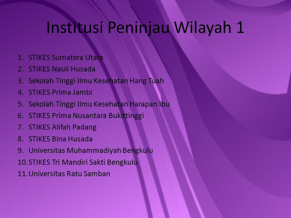 Institusi Peninjau Wilayah 1 1.STIKES Sumatera Utara 2.STIKES Nauli Husada 3.Sekolah Tinggi Ilmu Kesehatan Hang Tuah 4.STIKES Prima Jambi 5.Sekolah Ti