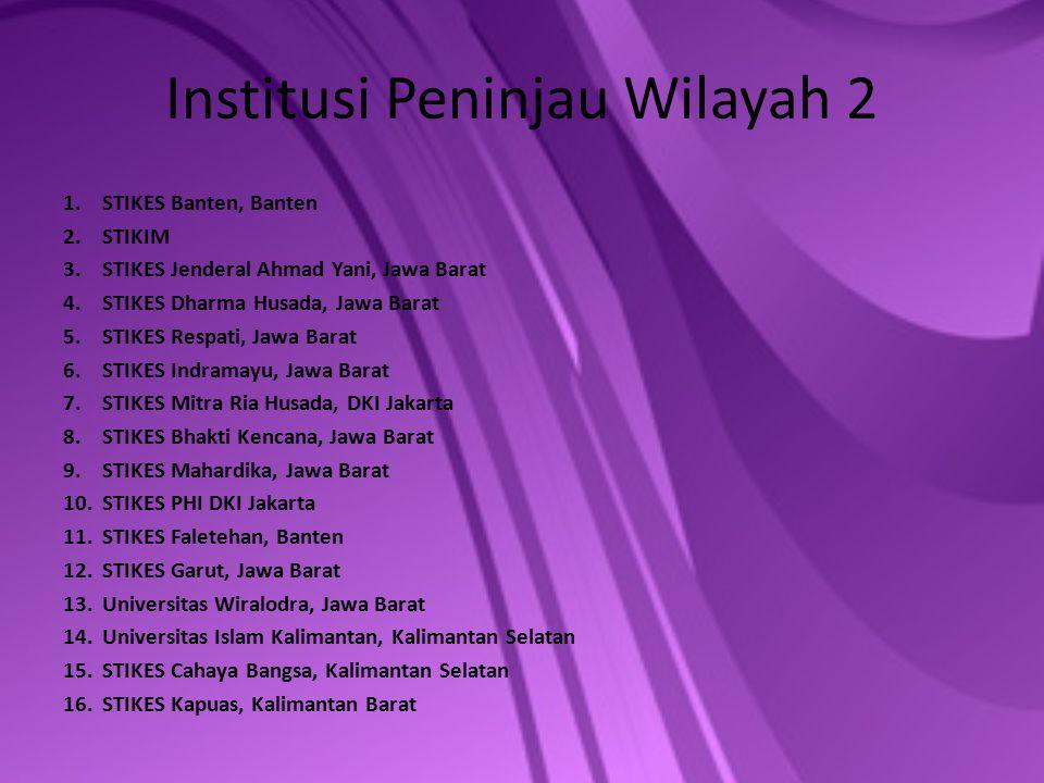 Institusi Peninjau Wilayah 2 1.STIKES Banten, Banten 2.STIKIM 3.STIKES Jenderal Ahmad Yani, Jawa Barat 4.STIKES Dharma Husada, Jawa Barat 5.STIKES Res
