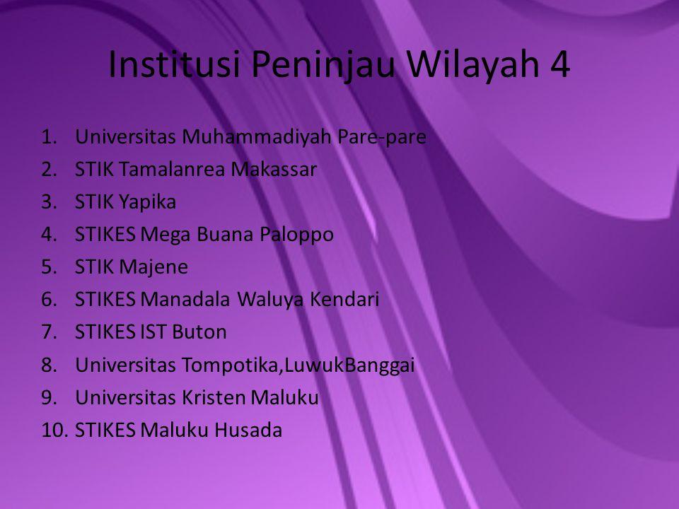 Institusi Peninjau Wilayah 4 1.Universitas Muhammadiyah Pare-pare 2.STIK Tamalanrea Makassar 3.STIK Yapika 4.STIKES Mega Buana Paloppo 5.STIK Majene 6